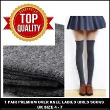 4 PAIRS  Women Girl Ladies Over The Knee Thigh High Long Socks UK size 4-7 BNBJF