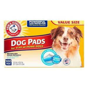 Arm & hammer puppy pads with baking soda, 22.5 in x 22.5 in, 100 count.