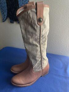 New FRYE Melissa Button Light BrownLeather Denim Top Womens Riding Boots Weatern