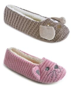 Ladies Animal Design Fleece Lined Knitted Ballet Slippers ~ Dog or Cat