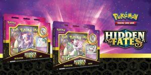 Pokémon TCG HIDDEN FATES Mew & Mewtwo Pin Collection Box Set of 2 NEW SEALED (B)
