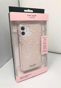 kate spade Defensive Hardshell Case for iPhone 11 Island Leaf Pink Glitter Clear