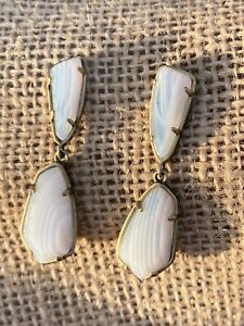 Kendra Scott Traci White Banded Agate Antique Brass Earrings