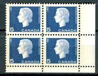 Canada #405p Corner Block 4 LR Cameo W2B Tagged MNH