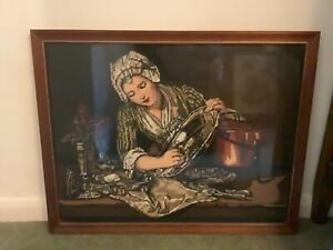 Framed Tapestry / Needlepoint Picture of a Maidservant Polishing A Silver Dish
