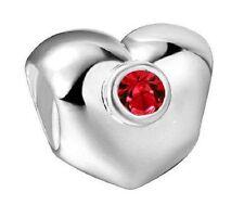 Red CZ Heart 925 Sterling Silver Plated charm bead in velvet bag
