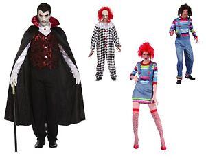 Mens Ladies Unisex Costumes Outfits Halloween Fancy Dress Dracula Clown Chuckie