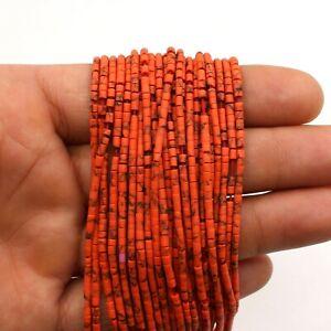 Red Coral Heishi Tyre Wheel Seed Tribal Afghani Beads Strand Craft 2mm DIY XCXC
