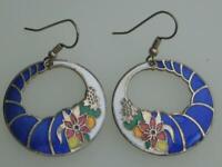 LOVELY 70/80'S VINTAGE CLOISONNE BLUE ENAMEL CORNUCOPIA STYLE DROP HOOK EARRINGS
