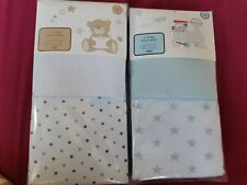 4 Moses Basket Jersey Fitted Sheets BNIP crib 100% cotton tesco white blue star