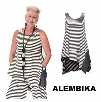 ALEMBIKA  T515 Jersey MOLLY TUNIC Asymmetric Swing TANK Top Resort 2018 STRIPES