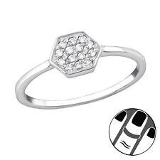 TJS 925 Sterling Silver Midi Ring Hexagon Clear CZ US Size 3.5 Body Jewellery