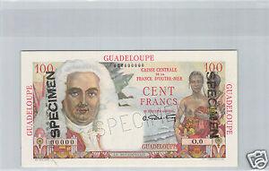 Guadeloupe Specimen 100 Francs ND (1946) Pick 35 S Rare