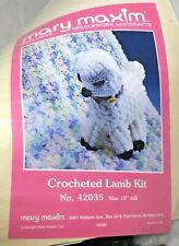 """Vintage Mary Maxim Crocheted Lamb Crochet Kit No. 42035 White 10"""" Tall New Nos"""