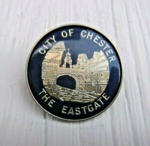 VINTAGE METAL PIN BADGE, CITY OF CHESTER - THE EASTGATE
