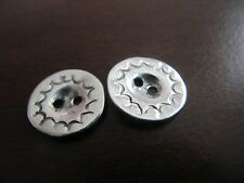 ORIGINAL STERLING SILVER 2 hole  BUTTONS HANDMADE 10 PCS LOT STAMPED  5/8'' size