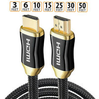 3 6 10 15 25 30 50FT 2160p Ultra High Speed 3D V2.0 4K HDMI Cable HDTV PC US Lot