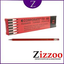 12 X HB PENCILS - ERASER TIPPED - GREAT VALUE PRODUCT! + FREE P&P!