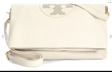 Tory burch kipp foldover messenger cross body handbag large ivory