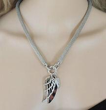 Collar Cadena collar Leopardo Remolque Engelswing Cristal Strass Plata -K19