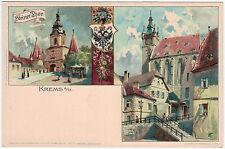 KREMS A D INUTILIZZATI Cartolina Artista (E.Nister Norimberga Lith del 1900