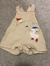 Vintage 12M Beige White Red & Blue Golfing Duck Overalls By Thomas