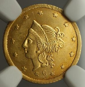 1870 California Fractional Gold Round Liberty Gold $1 Coin BG-1202 NGC UNC Det.