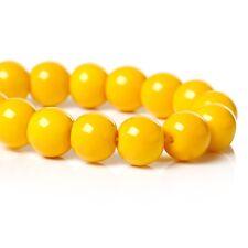 1 Strang 8 mm ca.112 Stück gelb Glasperlen Glas beads rund DIY basteln Schmuck