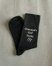 Golf Socks Grandad Daddy or Personalised Mens Black Socks with White Print