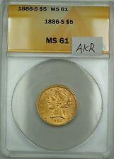1886-S $5 Liberty Half Eagle Gold Coin ANACS MS-61 AKR