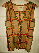 VINTAGE 70'S PEOPLE SUEDE LEATHER WOOL YARN FREE KNIT SWEATER VEST-FAR OUT!-