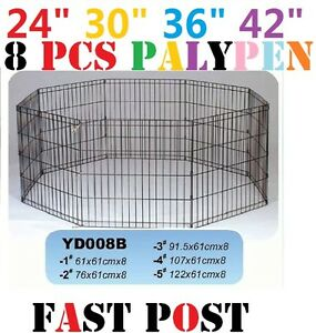 "24"" /30"" /36"" /42"" / 48"" x 8pcs Panel Playpen Pet Dog Puppy Exercise Cage fence"