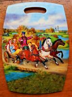 Vintage 60s 70s Colorful Russian Wall Hanging Cutting Board Trivet Wall Art Wood