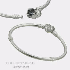 "Authentic Pandora Sterling Silver CZ Pave Heart Bracelet 9.1"" 590727CZ-23"