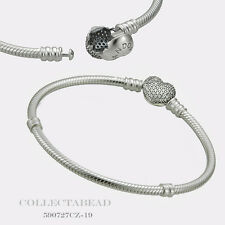 "Authentic Pandora Sterling Silver CZ Pave Heart Bracelet 7.9"" 590727CZ-20"