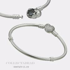 "Authentic Pandora Sterling Silver CZ Pave Heart Bracelet 7.5"" 590727CZ-19"