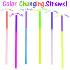 Fun Color Changing Party Straws!  Reusable, Recyclable Smoothie Plastic Drinking