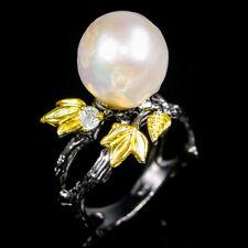 Vintage SET Natural Pearl 925 Sterling Silver Ring Size 8.5/R98710