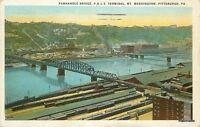 1926 Panhandle Bridge Mt Washington Pittsburgh Pennsylvania Teich postcard 8904