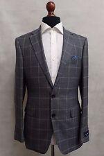 Men's Ermenegildo Zegna Suit Jacket Blazer Tailored Fit Grey Window Pane SS8047
