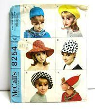 Vtg McCalls Hat Sewing Pattern 8254 Women's 60s S L