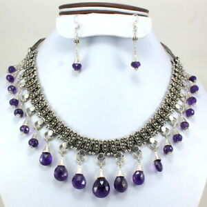 Fine Amethyst Necklace Earring Natural Gemstone Faceted Beads Handmade Jewelry