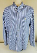 Polo Ralph Lauren Men's XL Classic Fit Blue White Stripes L/S Button Front Shirt