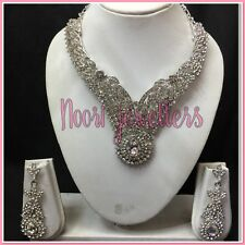 New Indian Bollywood Jewellrey Necklace  Earrings Set Silver Stone Clear Diamond