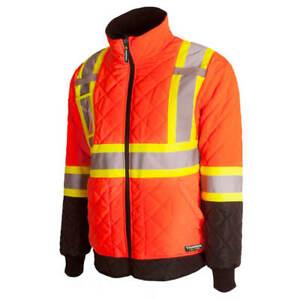 Terra 116505 High-Visibility Orange Quilted Reflective Safety Freezer Jacket