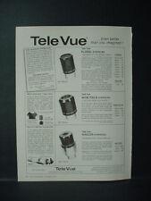 1983 TeleVue Tele Vue Optical Lenses for Telescopes Astronomy VTG Print Ad 11285