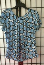 Liz Claiborne Woman's Blouse Top, Blue Multi-color, Sz Lg