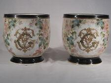 Ancienne Paire Cache Pot Porcelaine PARIS Décor Floral  Napoléon III , Antiquité