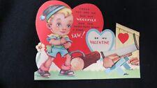 Vintage Lumber Jack Boy Valentine Card c. 1940s unsigned
