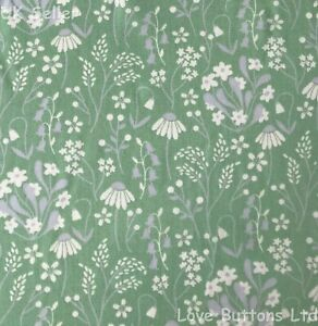 Rose & Hubble Bluebell Daisy Green Floral 100% Cotton Fabric half full mtrs & FQ